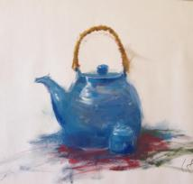 Teapot and cup, oil on paper