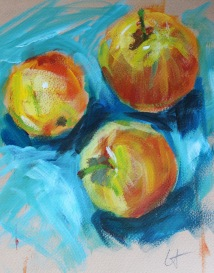 Apples, acryloc on paper
