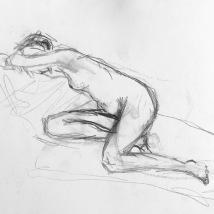 charcoal drawing of nude