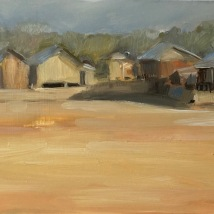 Burmese village, oil on gessoed foamboard