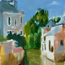 Le Volet qui Penche, Bayeux, acrylic on paper, SOLD