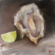 Oyster and lime, oil on paper, mounted on panel