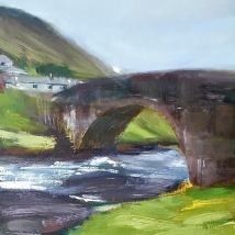 Stone bridge, scottish Highlands, oil on panel