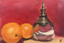 Oranges with Moroccan perfume bottle, Oil on gessoed foamboard