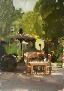 Garden cafe, Bagan, oil on gessoed foamboard