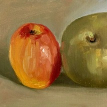 Two apples, oil on canvas paper, mounted on panel