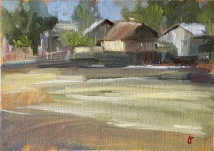 Burmese village 2, oil on canvas, mounted on panel