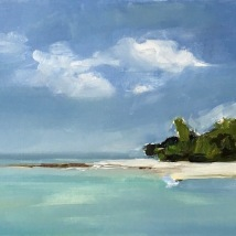 Peaceful island, oil on board