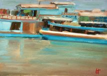 Boats on Irrawaddy river, oil on paper, mounted on board