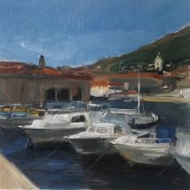Dubrovnik port, oil on canvas paper, mounted on panel