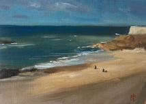 Saint Malo, plage Bon Secours, oil on canvas paper