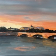 Pont des Invalides, Paris, oil on panel