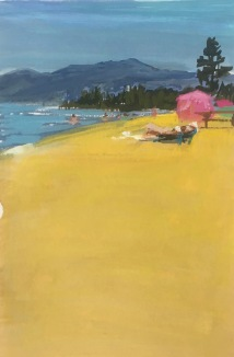 Baldwin Beach, Lake Tahoe, gouache on paper