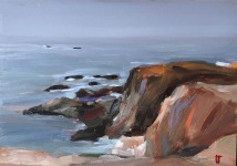 Mendocino coast, oil on panel