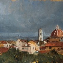 View from Boboli Gardens, Florence, Oil on canvas paper