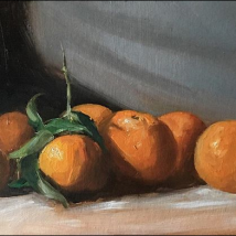 Clementines, oil on cardboard