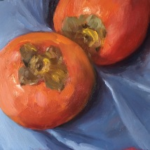 Persimmons, oil on cardboard