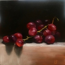 Red grapes 2, oil on panel