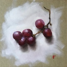 Red grapes, oil on canvas