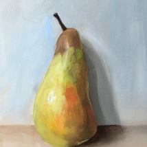 Pear, oil on panel
