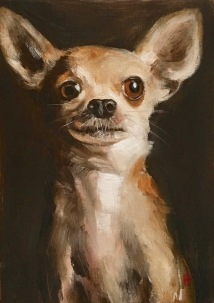 Chihuahua, oil on panel