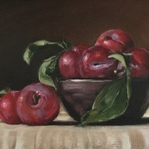 Plums, oil on canvas board