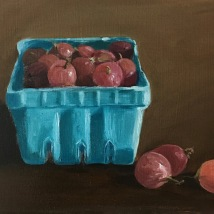 Gooseberries, oil on panel
