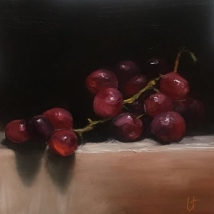 Red grapes, oil on panel