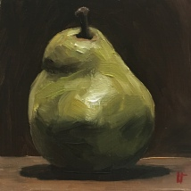 Green pear, oil on panel