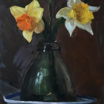 Daffodils, oil on panel, SOLD