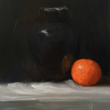 Black vase and clementine, oil on panel