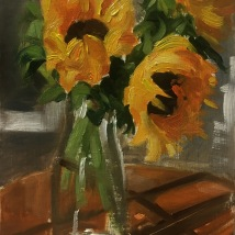 Sunflowers, oil on illustration board