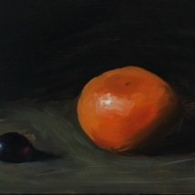 Mandarin and grape, oil on panel