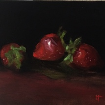 Strawberries, oil on panel