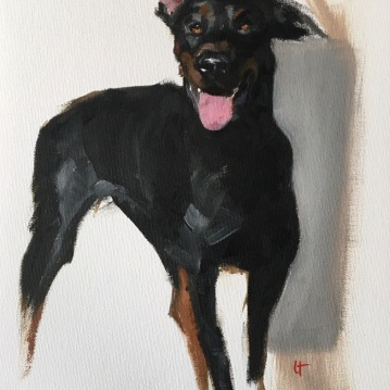 Sketch of Daisy, oil on unstretched canvas