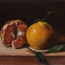 Two mandarins, oil on acid-free card