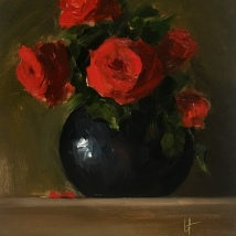 Red roses, oil on acid-free card, SOLD