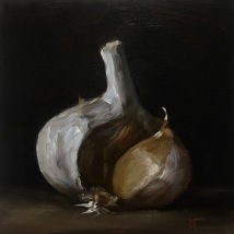 Elephant garlic, oil on panel, SOLD