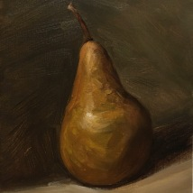 Bosc Pear, oil on panel, available
