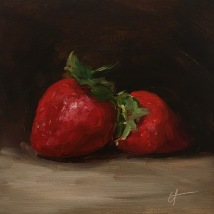 Two strawberries, oil on panel, SOLD