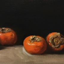 Persimmons, oil on linen panel, SOLD