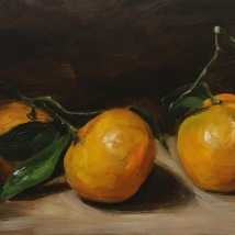 """Three Clementines, oil on panel, 7""""x5"""", SOLD"""