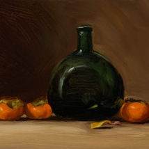 Green bottle and persimmons, SOLD
