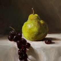 """Pear and grapes, 7""""x5"""", SOLD"""