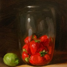 """Strawberries and Lime, 5""""x7"""", SOLD"""